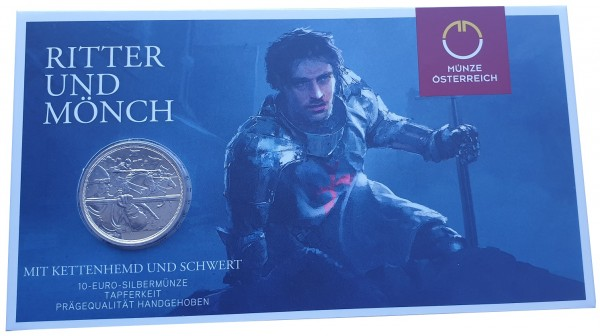 10 Euro Silber Tapferkeit - Kreuzritter 2020 Blister Handgehoben mit Kettenhemd und Schwert Österrei