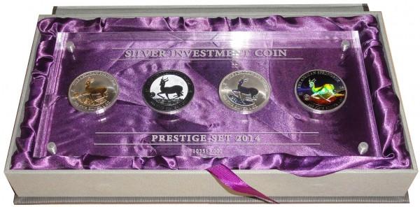 Gabun 4 x 1 Oz Silber Springbock Prestige Set 2014
