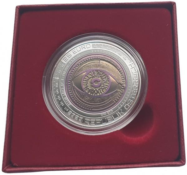 Österreich 25 Euro Silber Niob Münze Der Gläserne Mensch 2020 Handgehoben