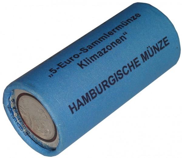 BRD: 25 x 5 Euro Bimetall Tropische Zone 2017 Münzrolle J