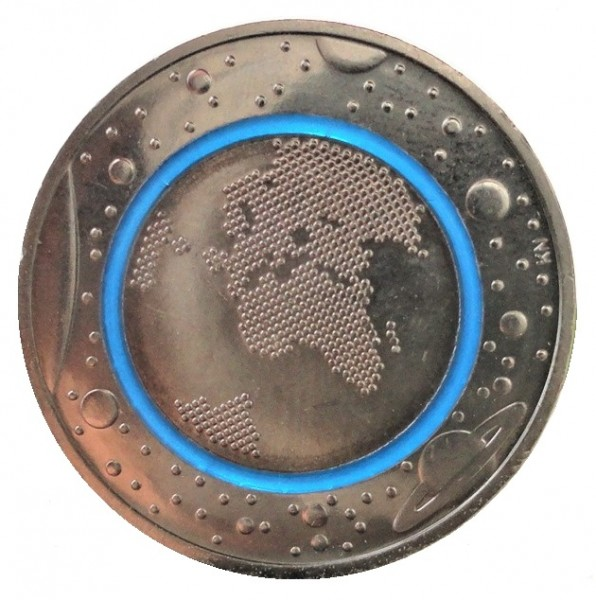 Brd 5 Euro Bimetall Blauer Planet Erde D Mit Polymer Ring 2016
