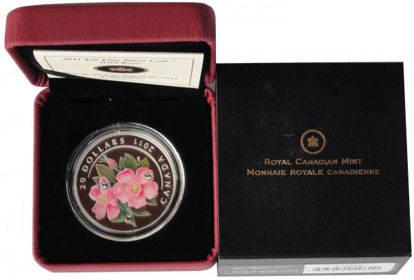 Canada 20 Dollars 1 Oz Silber Swarovski Crystal Wildrose Pink 2011 PP im Etui