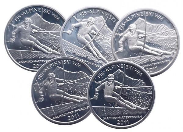 5 x 10 Euro Silber 2011 ADFGJ Alpine SKI WM Garmisch - Partenkirchen