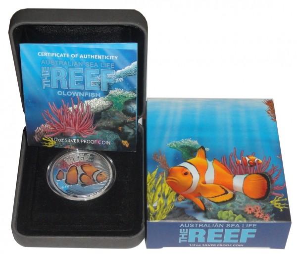 Australien 1/2 Oz Silber Clownfish 2010 Polierte Platte Sea Life Serie