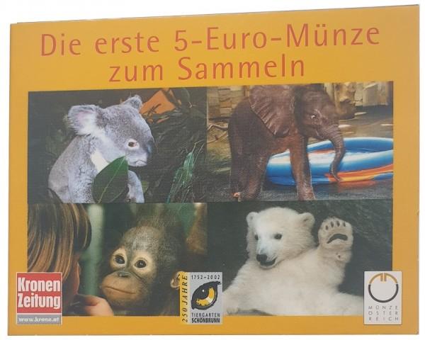 Österreich 5 Euro Silbermünze Tiergarten Schönbrunn 2002 Kronen Zeitung Miniblister