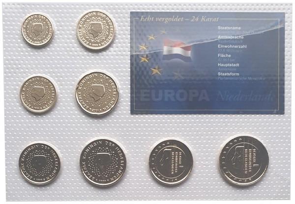 Niederlande Kursmünzensatz 3,88 Euro vergoldet in Noppenfolie