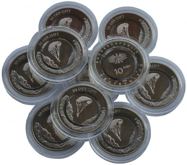 10 x 10 Euro Münze in der Luft 2019 J Hamburg Stempelglanz mit farblosen Polymerring