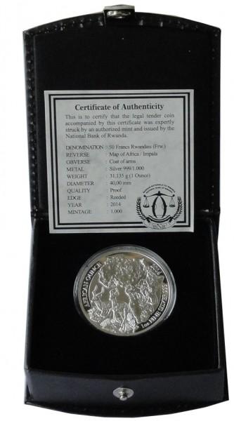 Ruanda 1 Oz Silber Impala 2014 PP mit Etui und Zertifikat