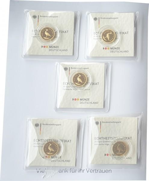 BRD: 5 x 20 Euro Goldmünzen Weißstorch 2020 ADFGJ Stgl Komplettsatz