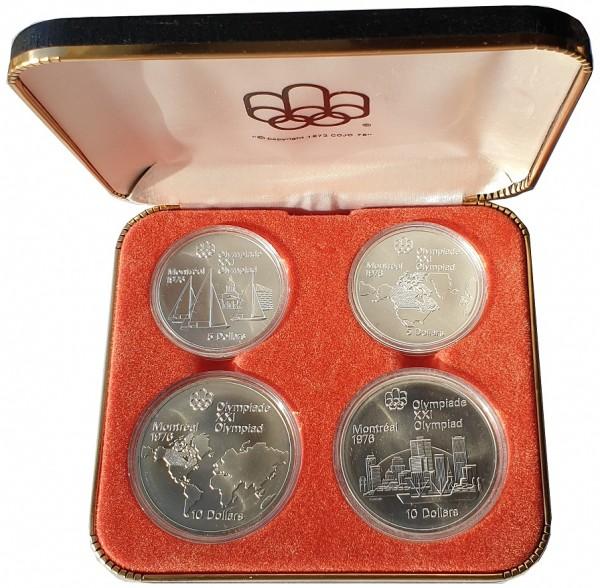 Canada 4 Silbermünzen 1973 Olympiade Montreal 1976