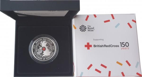Großbritannien 5 Pounds Silbermünze 150 Jahre Britisches Rotes Kreuz 2020 Polierte Platte
