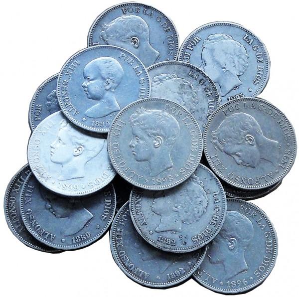 Anlagepaket: Spanien 15 x 5 Pesetas Silbermünzen 375 gr 900/1000 Silber