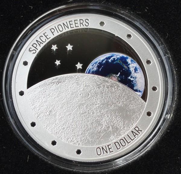1 Oz Silber Space Pioneers - Weltraumpioniere Mondlandung 2019 PP Neuseeland