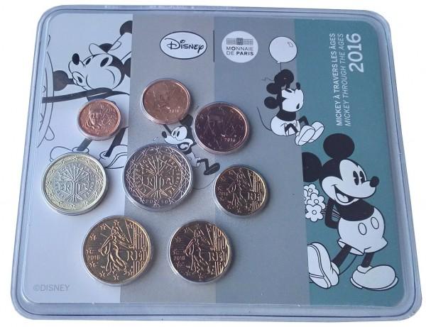 Frankreich 3,88 Euro Kursmünzensatz Mickey Mouse 2016 im Blister - nur 500 Sets!