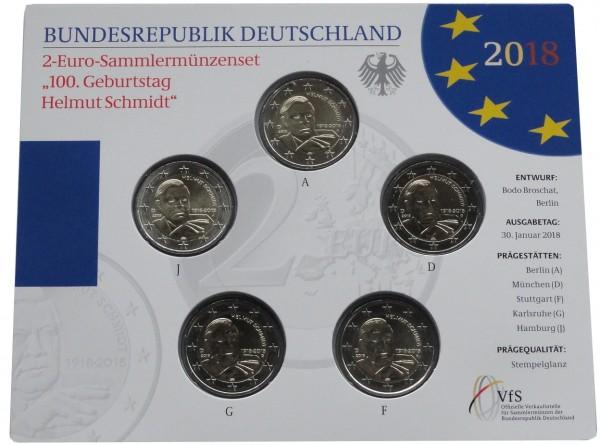 BRD: 5 x 2 Euro Gedenkmünzen - Set Helmut Schmidt 2018 ADFGJ Stempelglanz im Blister