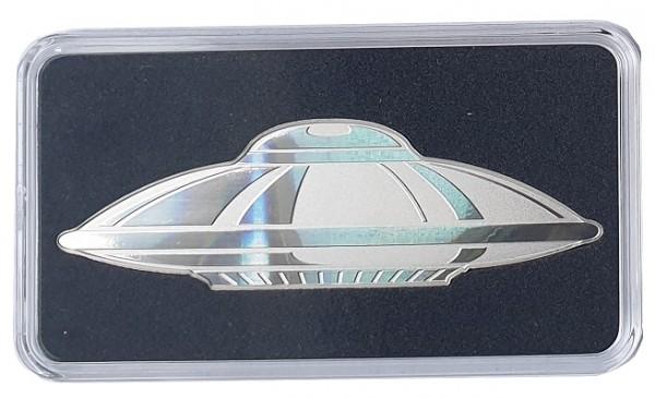 1 Oz Silber UFO Hologramm Prägung Shaped Coin Reverse Proof - Salomonen 2020