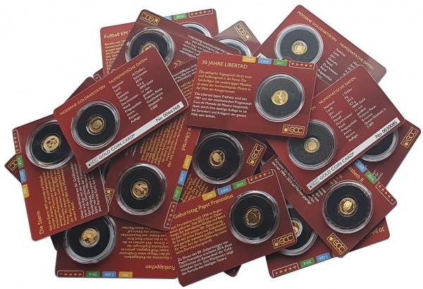 Diverse 0,5 gr Goldmünzen 999,9/1000 Gold in Blisterkarte - Anlagemünzen