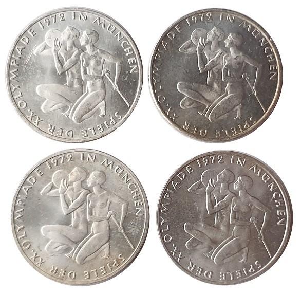 BRD: 4 x 10 DM Silber DFGJ Sportlerpaar Olympiade 1972 München