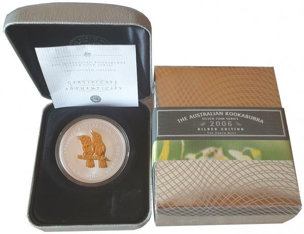 1 Oz Silber Kookaburra - vergoldet (Gilded) 2006 im Etui aus Australien