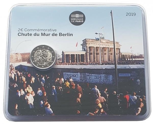 2 Euro 30 Jahre Mauerfall BU 2019 Frankreich in Coincard