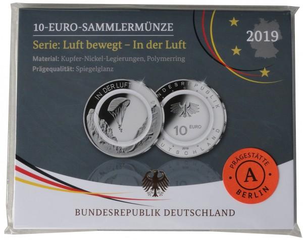 10 Euro in der Luft 2019 A Berlin Polierte Platte mit farblosem Polymerring