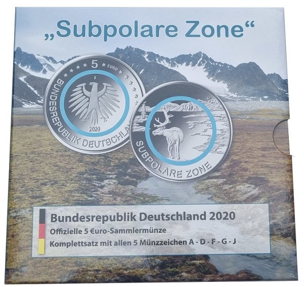 BRD: 5 x 5 Euro Subpolare Zone 2020 ADFGJ Stempelglanz im Blister