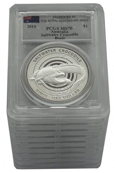 Australien 10 x 1 Oz Silber Salzwasser - Krokodil Bindi 2013 PCGS MS - 70
