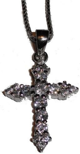 St. Leonhard Silber - Anhänger Kreuz mit Zirkonen und Kette, 45 cm