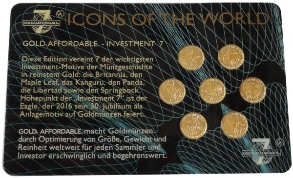Ruanda 7 x Goldmünzen Icons of the World 2016 in Blisterkarte