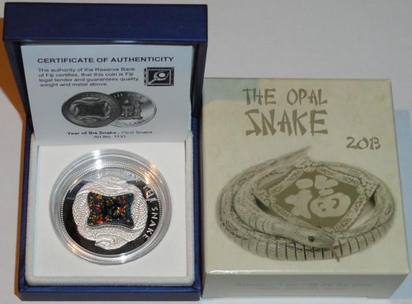 Fiji 10 Dollars 1 Oz Silbermünze Opal Snake 2013 Etui