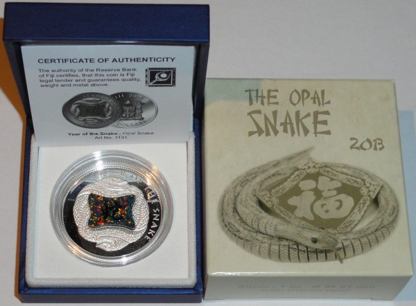 Fiji 10 Dollars 1 Oz Silbermünze Opal Snake 2013 Polierte Platte