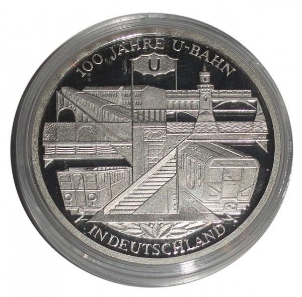 BRD: 10 Euro Silber Gedenkmünze 100 Jahre U-Bahn in Deutschland 2002 Polierte Platte