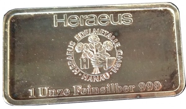 1 Oz Silberbarren Heraeus Edelmetalle Hanau. Motivbarren: Schloss Büdingen