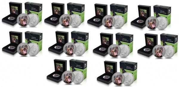 Niue 10 x 1 Oz Silber German Rottweiler / Deutscher Rottweiler 2015 im Etui