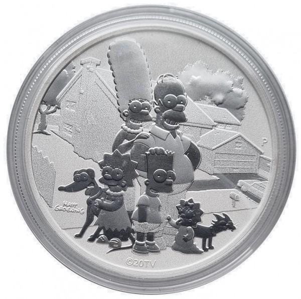 1 Unze Silber Simpsons Family 2021 BU Tuvalu Bullionmünze - Anlagemünze