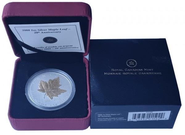 Canada 1 Oz Silber Maple Leaf 2008 vergoldet (Gilded) Stempelglanz