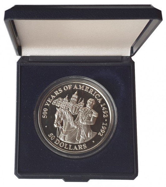 Cook Inseln 50 Dollars 1991 Silbermünze 500 Jahre America Maximilian Kaiser von Mexico