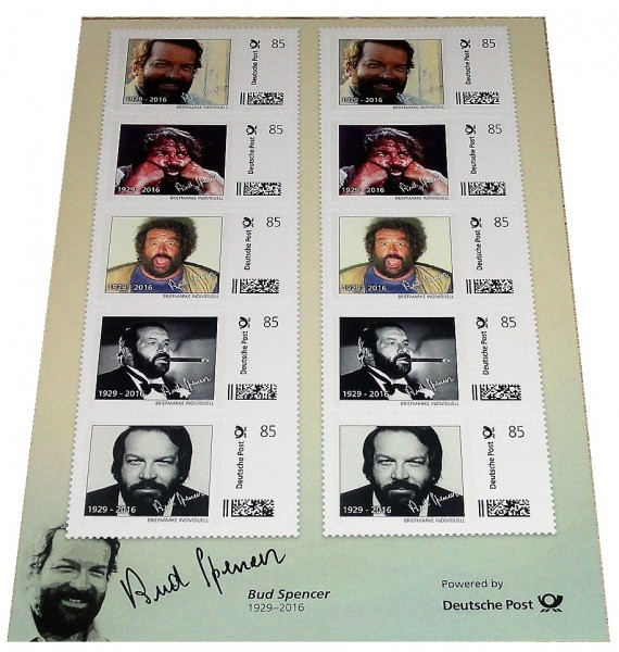 Bud Spencer Briefmarken 10 x 85 Cent Briefmarkenbogen Limited Edition nur 10.000 Stück !