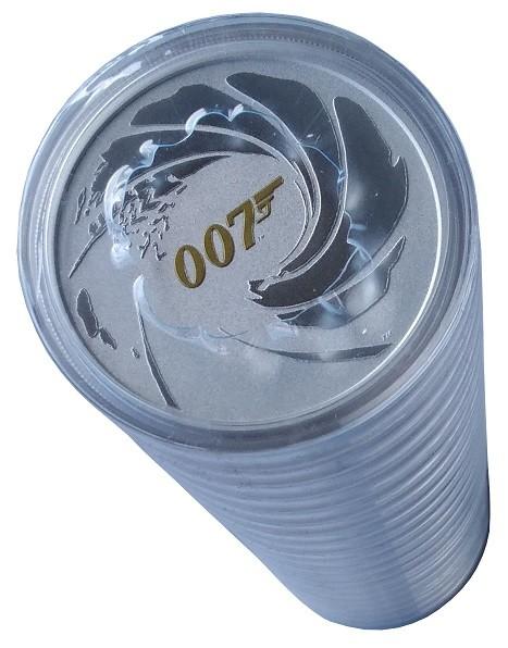 20 x 1 Oz Silber James Bond 007 vergoldet 2021 - Münzrolle verschweist