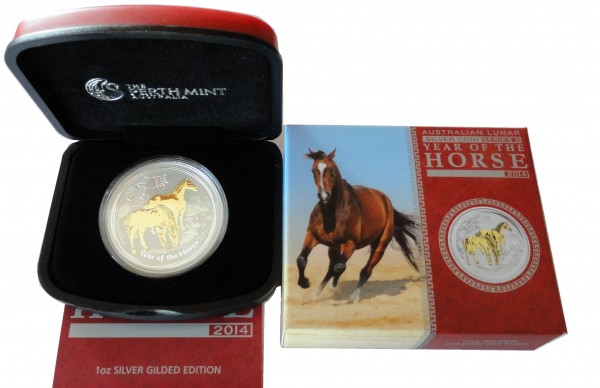 Australien 1 Oz Silber Lunar II Pferd 2014 Stempelglanz vergoldet (Gilded)
