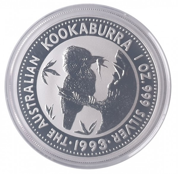Australien 1 Oz Silber Kookaburra 1993 Münzkapsel