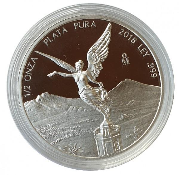 1/2 Oz Silber Libertad - Siegesgöttin Mexico 2018 Polierte Platte Münzkapsel