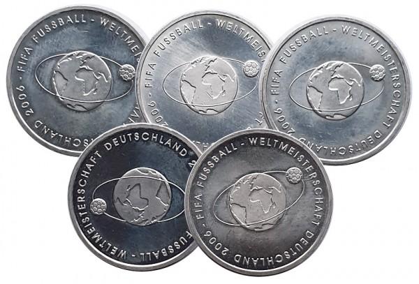 5 x 10 Euro Silber 2004 ADFGJ FIFA Fussball - Weltmeisterschaft 2006