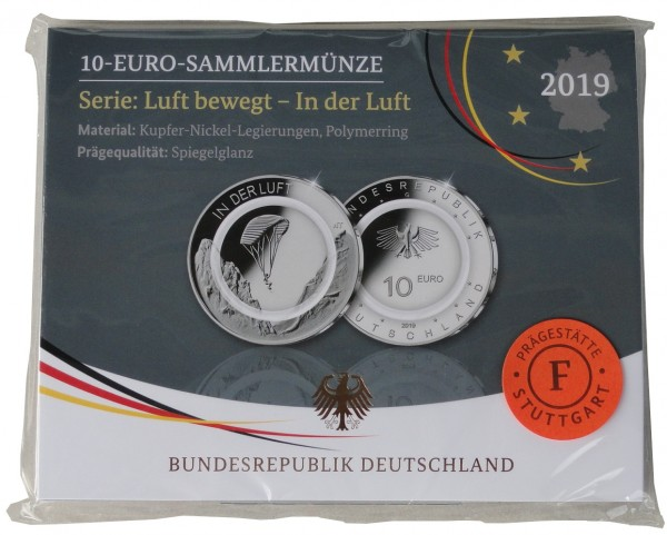10 Euro in der Luft 2019 F Stuttgart Polierte Platte mit farblosem Polymerring