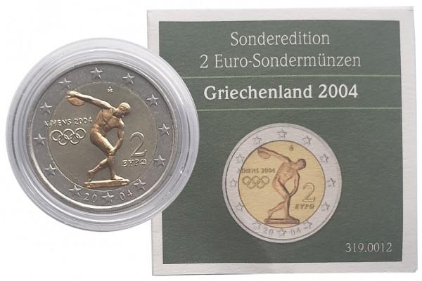 2 Euro Griechenland 2004 Diskuswerfer - Goldapplikation in Münzkapsel + Zertifikat