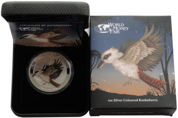 Australien 1 Oz Silber Kookaburra Farbe World Money Fair 2018