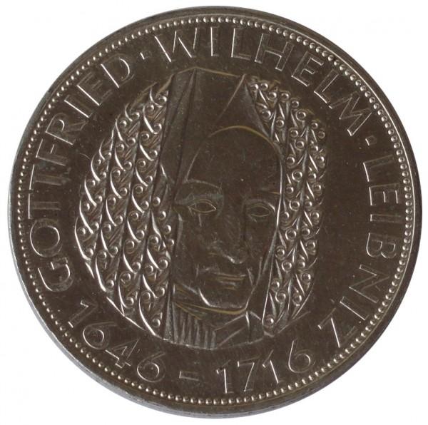BRD: 5 DM Silber Gedenkmünze Gottfried Wilhelm Leibnitz 1966 D
