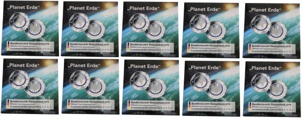 Sparpaket ! 10er Pack 5 x 5 Euro Blauer Planet Erde 2016 im Blister