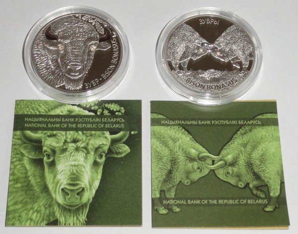 Weißrussland 2 x 20 Rubel Silber Bison + Bisonkampf 2012