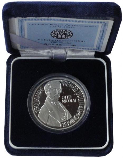Österreich 100 Schilling Silber 150 Jahre Wiener Philharmoniker 1992 Polierte Platte